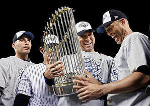 "The ""Core Four"" celebrate after winning the 2009 World Series"