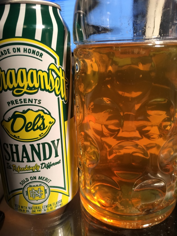 Here's a tasty look at the color of Narragansett Del's Shandy, a nice and light yellowish amber