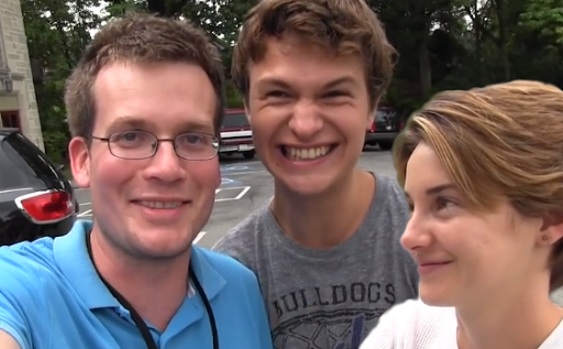 John Green (left) with the two stars of the film, Elgort and Woodley.